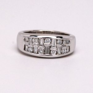 14k white gold 1ctw Baguette & Round Diamond Anniversary / Wedding Band-0