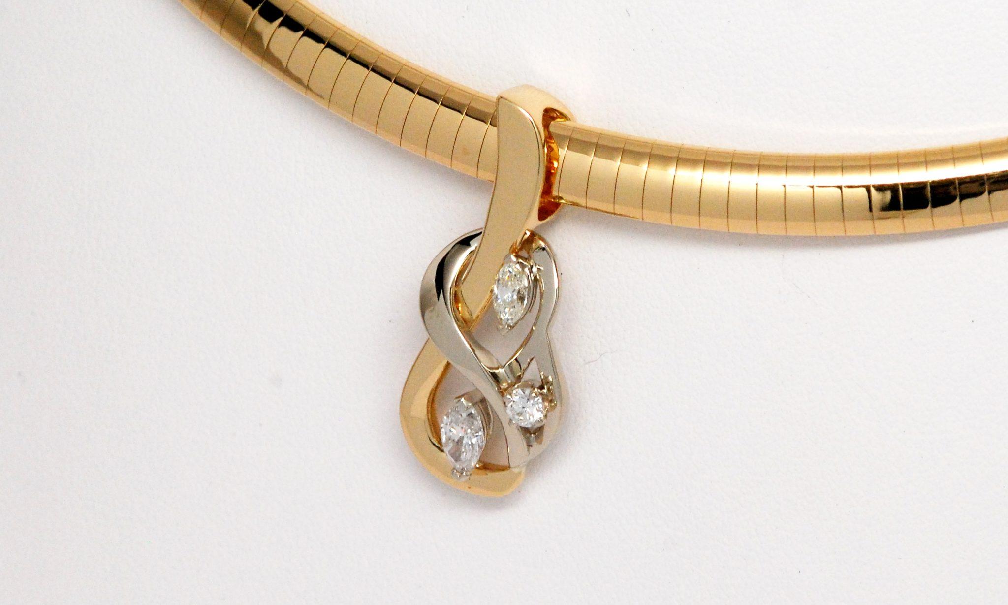 Custom 14k two tone free form diamond omega slide pendant kappys custom 14k two tone free form diamond omega slide pendant aloadofball Images