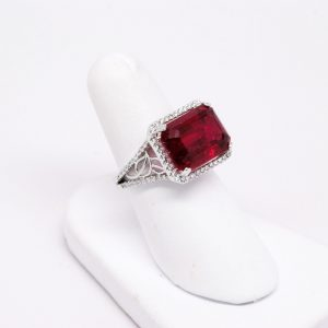 18k White Gold 9ct Emerald Cut Pink Tourmaline & Round Diamond Cluster Ring-0