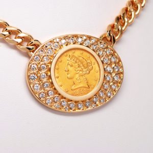 14k Yellow Gold Diamond & $5 Gold Liberty Coin Pendant W/ Curb Necklace Chain-0