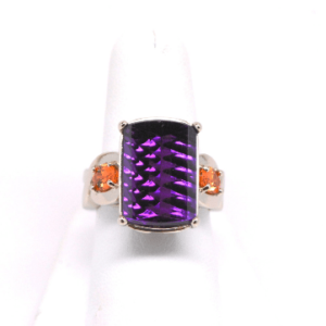 Womans Solid 14kt White Gold Laser-cut Amethyst and Spessartite Garnet Ring Band-0