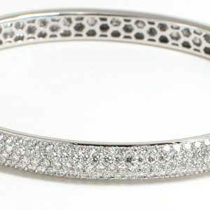 18K Solid White Gold Pave Round Diamond Bangle Retail Value $8995+-0