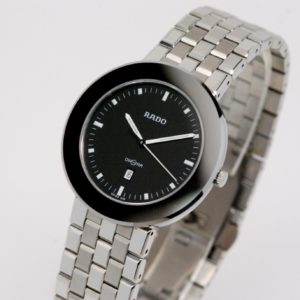 Men's or Women's Stainless Steel Rado Diastar Watch W/ Black Dial & Mesh Bracelet-0