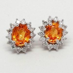 14k White Gold Oval Orange Spessartite Garnet & Round Diamond Stud Post Earrings-0