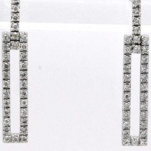 14k White Gold Drop Dangle Round Diamond Stud Post Earrings Rectangle Shape-0