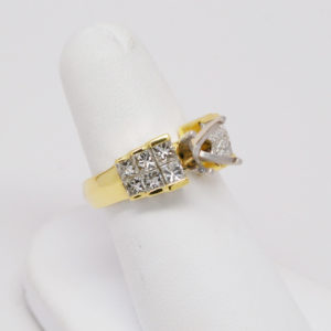 18k Green Gold 1.35ctw Princess Square Cut Diamond Step Design Semi Mount Ring-0