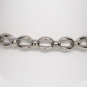 "18k White Gold Oval & Circular Link Bracelet 8"" Italian Made-0"