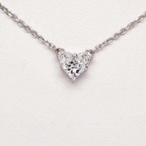 Platinum 1.58ctw Diamond Cluster Heart Pendant Necklace w/ 14k White Gold Chain-0