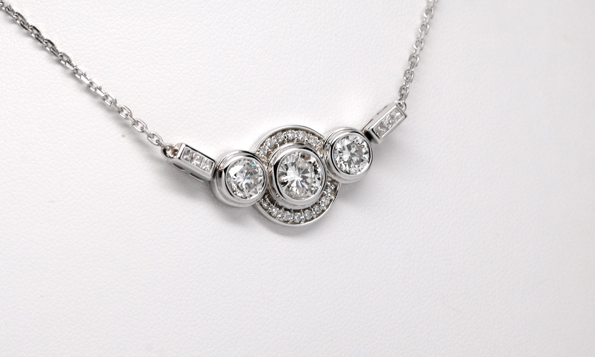 Custom 14k White Gold 3 Diamond Halo Pendant W Princess Cut