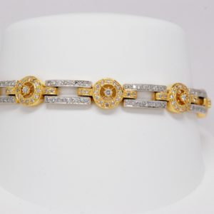 18k Two-tone Yellow White Gold Diamond Rectangular Circle Link Bracelet 2.32ctw-0