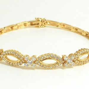 14k Yellow Gold 1.42ctw Diamond Oval X and O Hugs And Kisses Link Bracelet-0