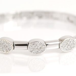 18k White Gold 1ctw Pave Diamond Cluster Bangle Cuff Bracelet Italian VS1-0