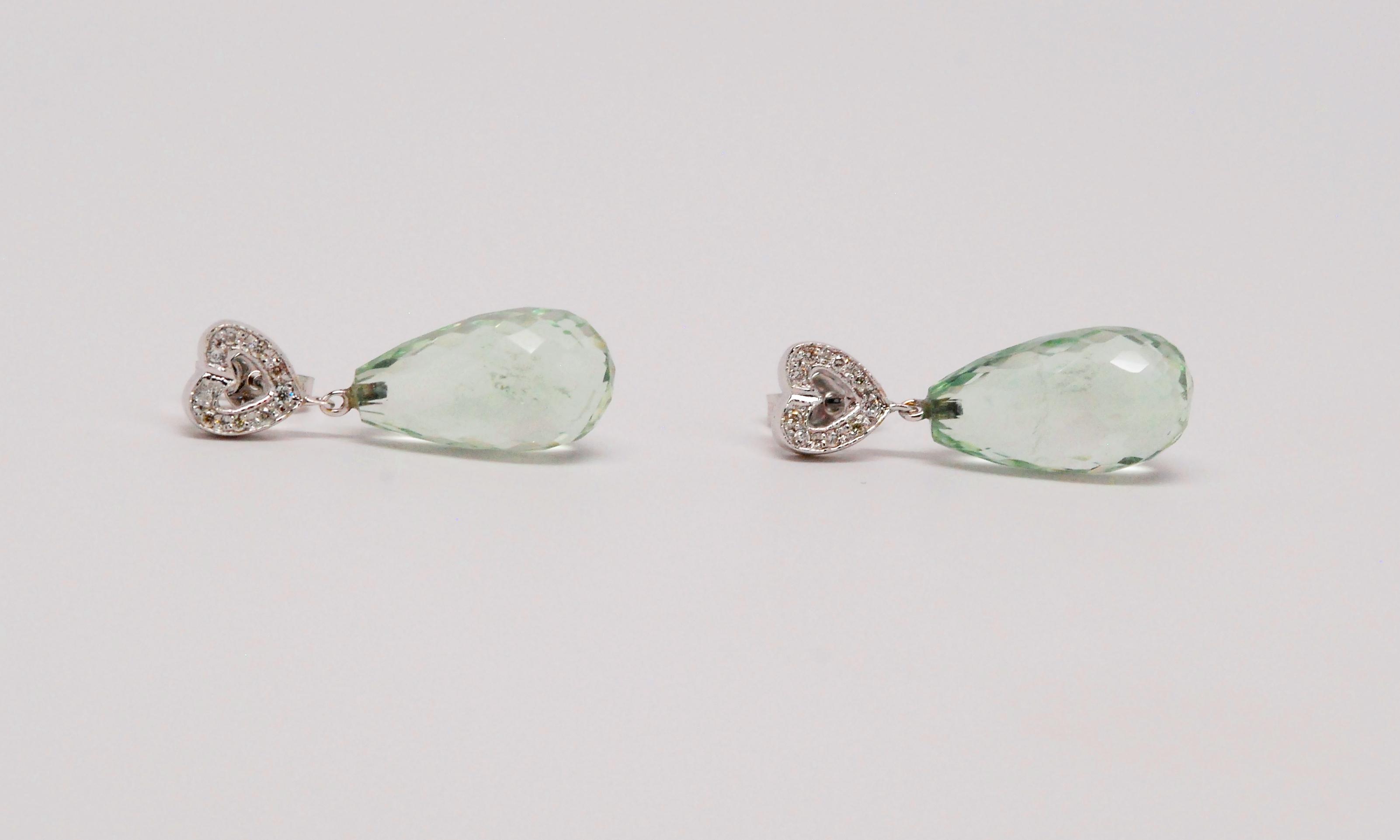 18k White Gold Mint Green Amethyst & Round Diamond Earrings
