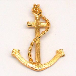 14k Yellow Gold Mariner's Anchor Pendant