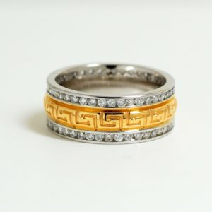 Solid 14k Two-Tone Greek Key Design Diamond Eternity Band-0