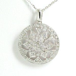 "14k White Gold Diamond Circle Cluster Pendant Necklace w/ 18"" chain-0"