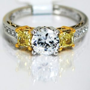 18k Two-Tone Fancy Yellow Diamond Semi-Mount Engagement Ring By Designer Simon G-0