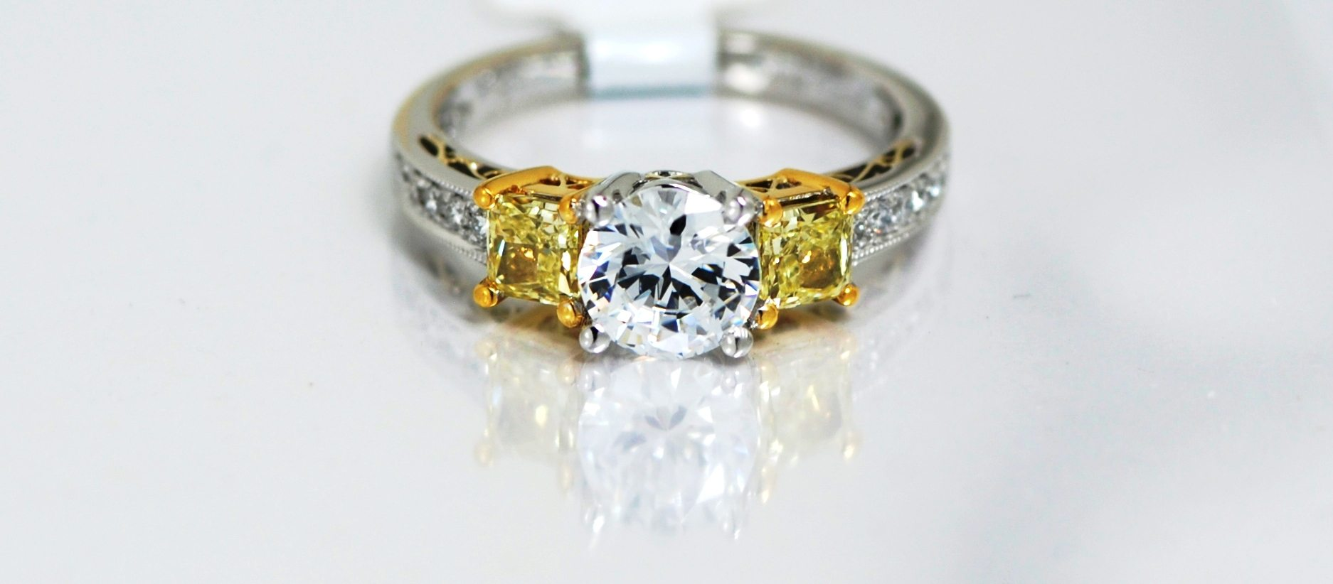 18k Twotone Fancy Yellow Diamond Semimount Engagement Ring By Designer  Simon G