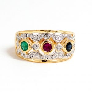 14k Yellow Gold Sapphire, Emerald, Ruby & Diamond Multicolor Gemstone Band-0