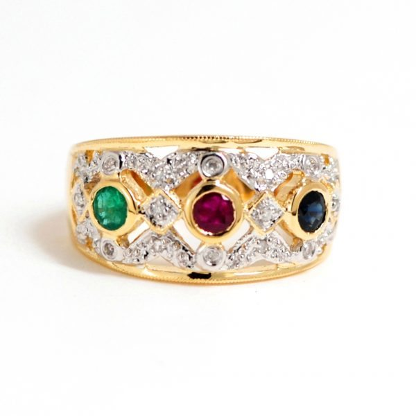 Sapphire Emerald Ruby & Diamond Gemstone Band 14k Two Tone Gold