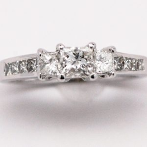 14k White Gold Past Present & Future 3-stone Princess Diamond Engagement Ring-0