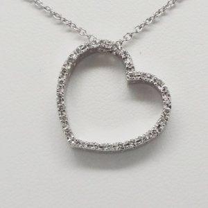 18K White Gold 0.50ctw Pave Diamond Sideways Open Heart Necklace-0