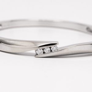 14k White Gold Bypass Round Diamond Bangle Bracelet-0