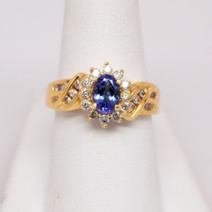 14k Yellow Gold Tanzanite Gemstone & Round Diamond Ring-0