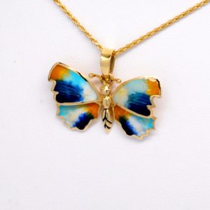 14k Yellow Gold Light & Dark Blue, White & Yellow Enamel Butterfly Pendant-0