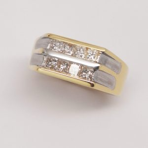 Men's 14k Two-Tone Square Cut Diamond Ring-0