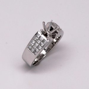18k White Gold 1ctw Princess Cut Diamond Semi-Mount Engagement Ring-0