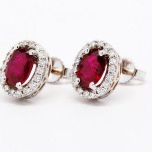 14k White Gold Oval Ruby & Round Diamond Stud Earrings-811