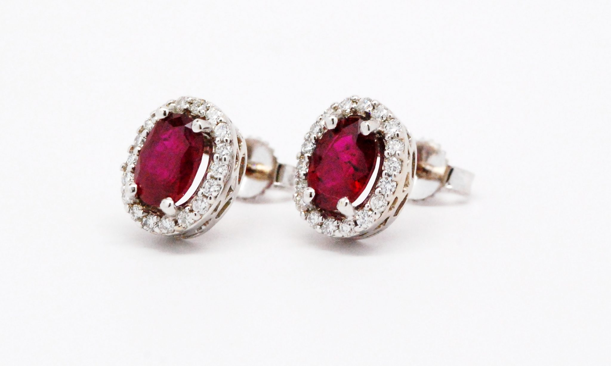 14k White Gold Oval Ruby & Round Diamond Stud Earrings Kappy s