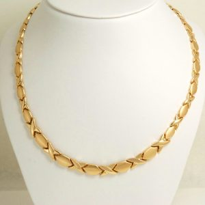 """14k yellow gold XOXO Hugs and Kisses Necklace Chain 17.5""""-0"""