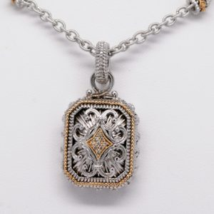 Gabriel & Co. Argentium Silver and 18k Yellow Gold Diamond Enhancer Pendant / Necklace-0