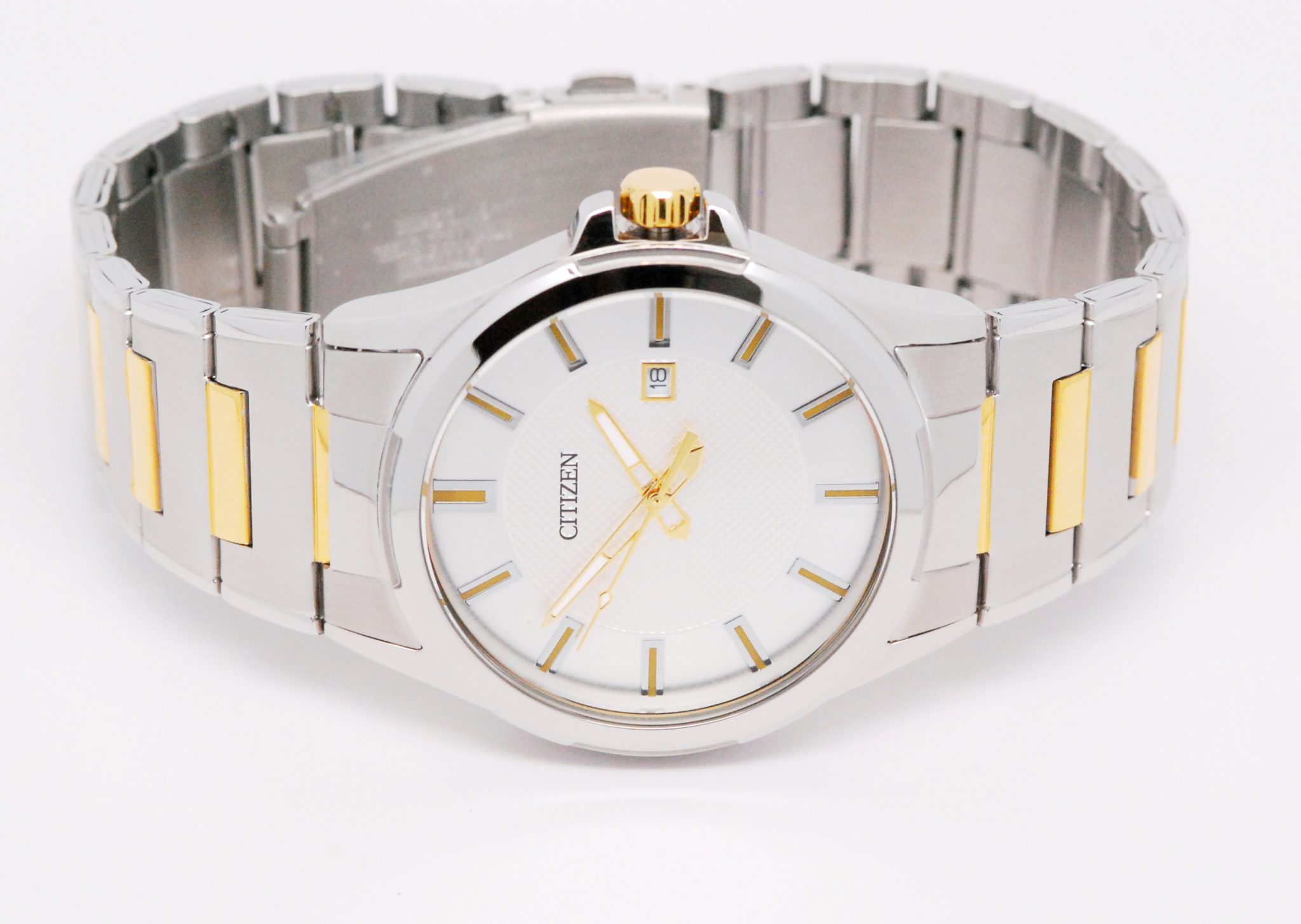 Men S Two Tone Stainless Steel Citizen Quartz Watch With Silver Dial