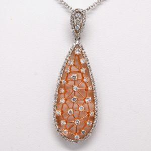 18k White & Rose Gold 1.8ctw Round Diamond Drop Pendant Necklace w/ Chain-0