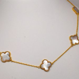 18k Yellow Gold Floral Design Mother of Pearl Necklace-0