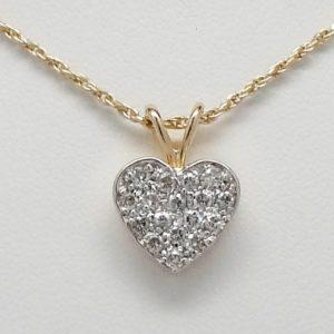 14k Two-Tone 0.51ctw Diamond Heart Pendant Necklace w/ Chain-0