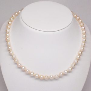 """19"""" Strand of 6 - 7mm Round Cultured Pearl Necklace w/ 18k Yellow Gold Clasp-0"""