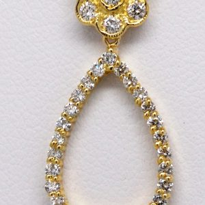 18K Green Gold 0.78ctw Drop Shape Round Diamond Cluster Necklace-0