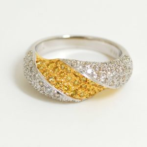 14k Two-Tone 1ctw Natural Fancy Yellow Diamond Dome Band-0