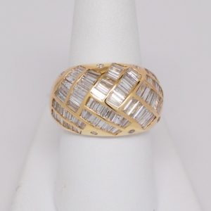 14k Yellow Gold 3ctw Baguette & Round Diamond Dome Ring-0