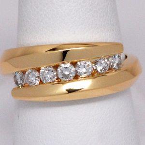 Women's 14k Yellow Gold Diamond Bypass Style Ring-0
