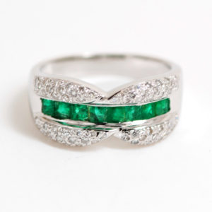 14k White Gold Square Emerald & Round Diamond Band-0