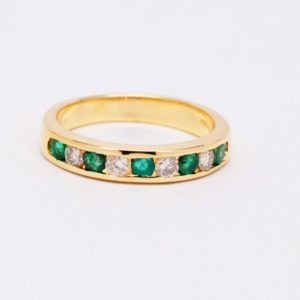 14k Yellow Gold Alternating Round Emerald & Diamond Band-0