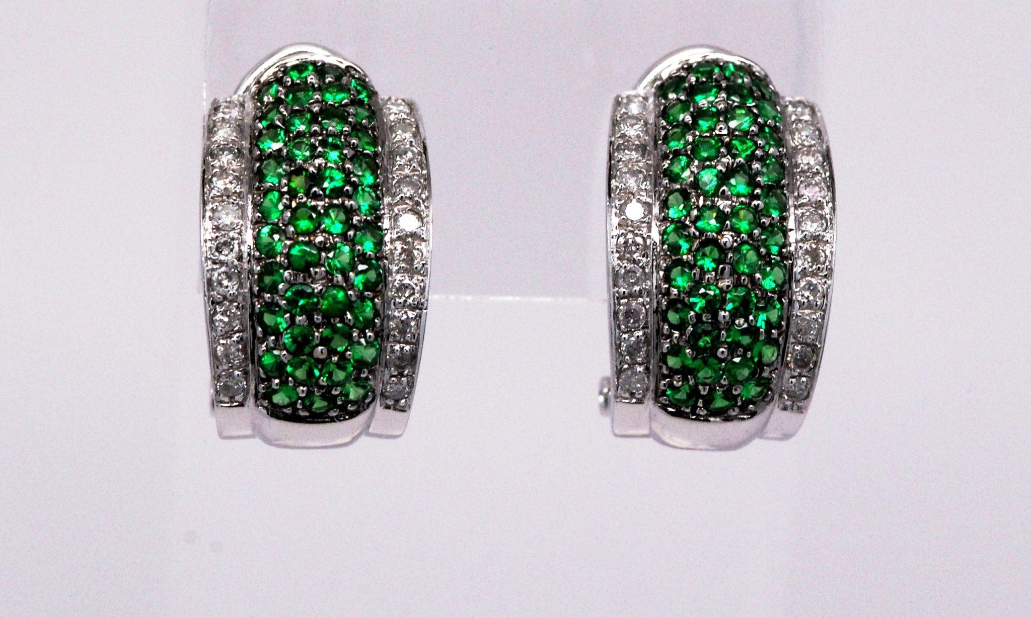 14k White Gold Round Tsavorite & Diamond Earrings Kappy s Fine