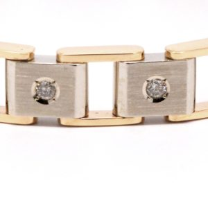 Men's 14k Two-Tone Square Link Bracelet With Round Diamonds-0