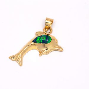 14k Yellow Gold Synthetic Opal Dolphin Pendant-819