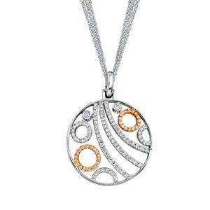 Simon G Two-tone Rose/White Gold Diamond Circle Pendant-0